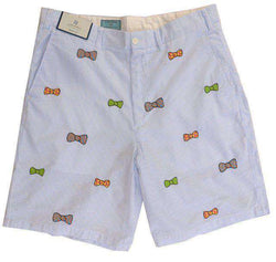 Men's Shorts - Embroidered Cisco Shorts Blue Seersucker With Bow Ties By Castaway Clothing