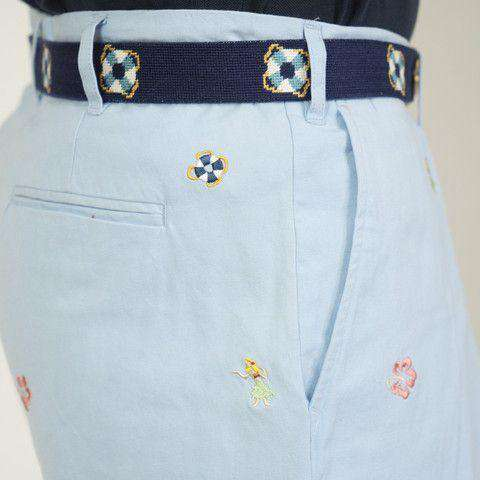 Embroidered Cisco Shorts in Liberty Blue with Hula Dancer and Hibiscus by Castaway Clothing