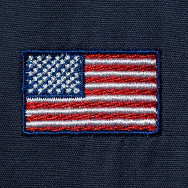 Men's Shorts - Embroidered Cisco Shorts In Nantucket Navy With American Flag By Castaway Clothing