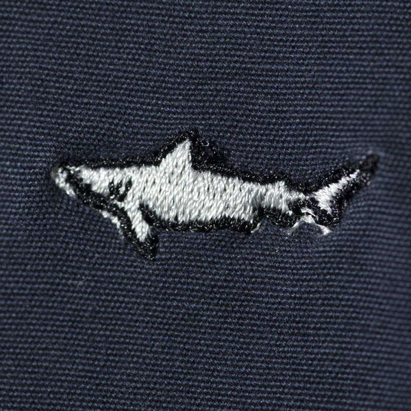 Embroidered Cisco Shorts in Nantucket Navy with Infested Sharks by Castaway Clothing
