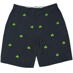 Men's Shorts - Embroidered Cisco Shorts In Nantucket Navy With Kelly Green Shamrock By Castaway Clothing