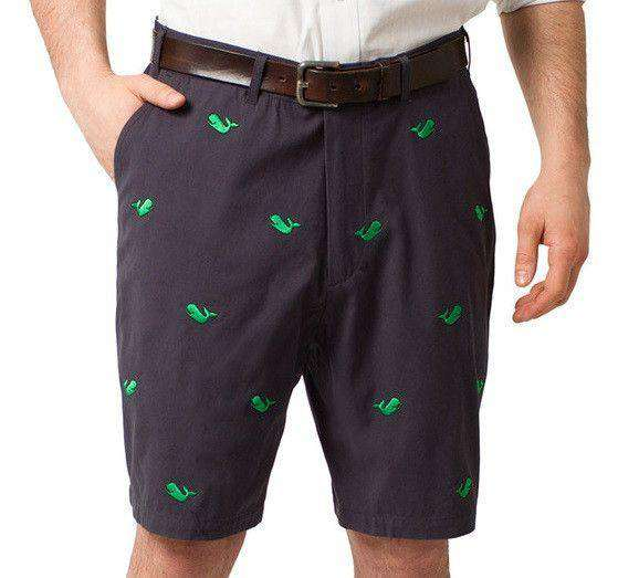 Men's Shorts - Embroidered Cisco Shorts In Nantucket Navy With Kelly Green Whale By Castaway Clothing