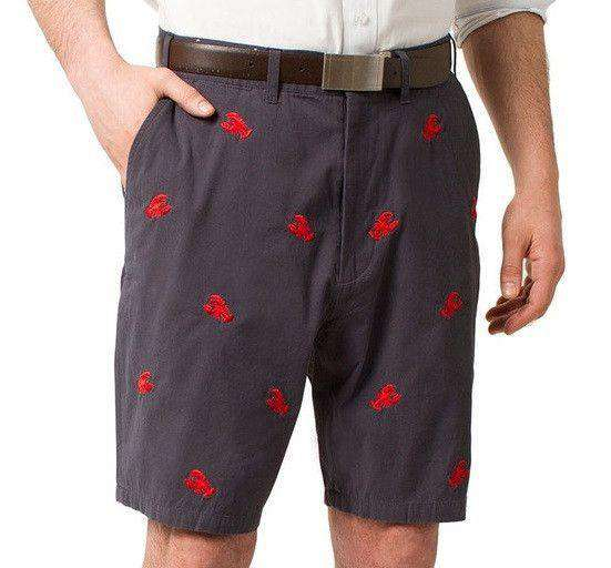 Embroidered Cisco Shorts in Nantucket Navy with Red Lobster by Castaway Clothing