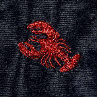 Men's Shorts - Embroidered Cisco Shorts In Nantucket Navy With Red Lobster By Castaway Clothing