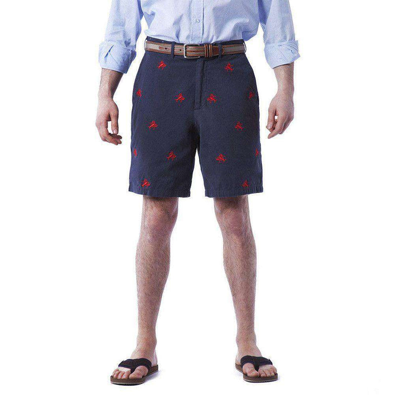Men's Shorts - Embroidered Cisco Shorts In Nantucket Navy With Red Lobsters By Castaway Clothing
