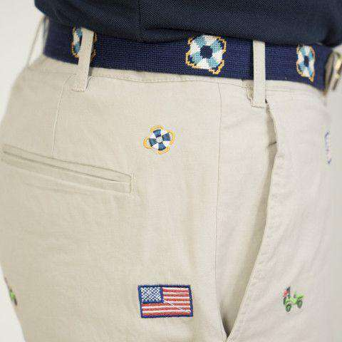 Embroidered Cisco Shorts in Stone with Jeep and American Flag by Castaway Clothing - FINAL SALE
