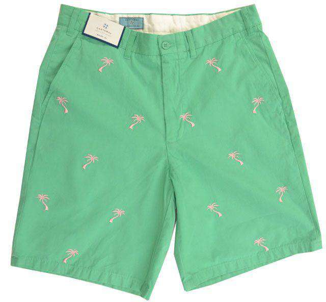 Men's Shorts - Embroidered Cisco Shorts Sea Glass With Palm Tree By Castaway Clothing