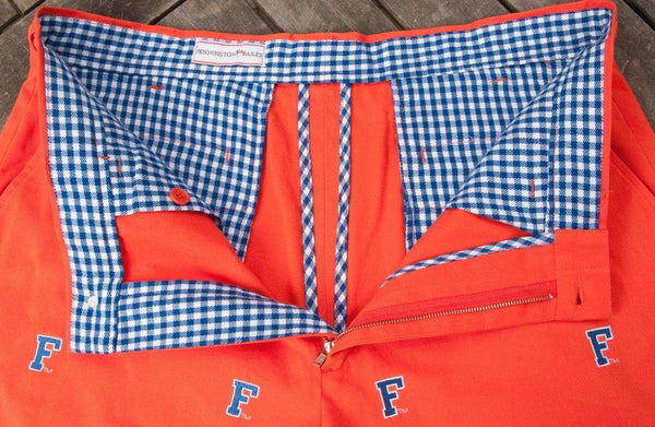 "Florida ""Block F"" Stadium Shorts in Orange by Pennington & Bailes"