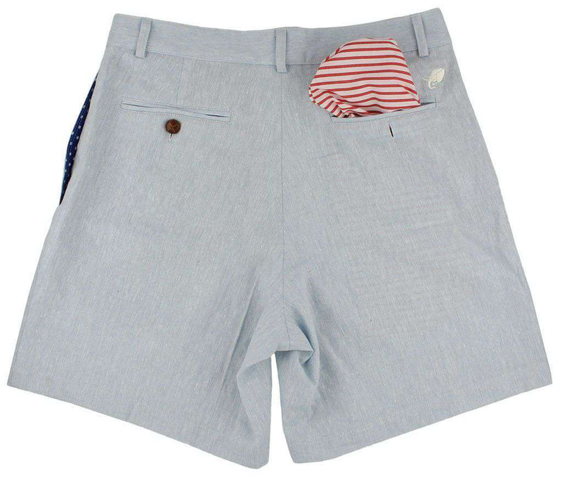 Men's Shorts - Freedom Shorts In Monterey Blue Linen By Blankenship Dry Goods - FINAL SALE