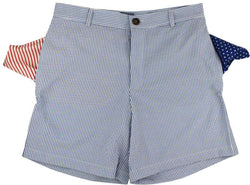 Men's Shorts - Freedom Shorts In Newport Blue Seersucker By Blankenship Dry Goods - FINAL SALE