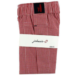 Men's Shorts - Gingham Boxers In Red By Johnnie-O