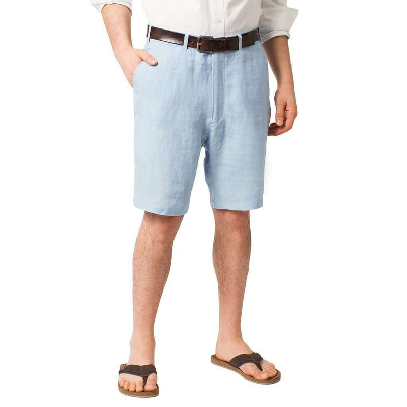 Men's Shorts - Lighthouse Linen Shorts In Great Point Blue By Castaway Clothing - FINAL SALE