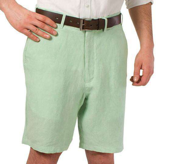 Men's Shorts - Lighthouse Linen Shorts In Seafoam Green By Castaway Clothing - FINAL SALE