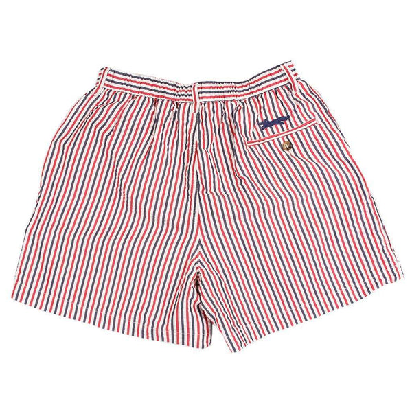 "Longshanks 5.5"" Seersucker Shorts in Red, White, & Blue by Country Club Prep - FINAL SALE"