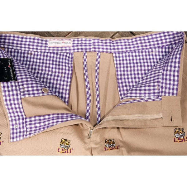 LSU Stadium Short in Khaki by Pennington & Bailes