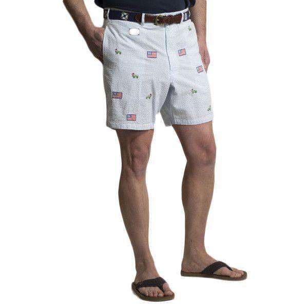 Mariner Short in Blue Seersucker with Embroidered Jeep and American Flag by Castaway Clothing