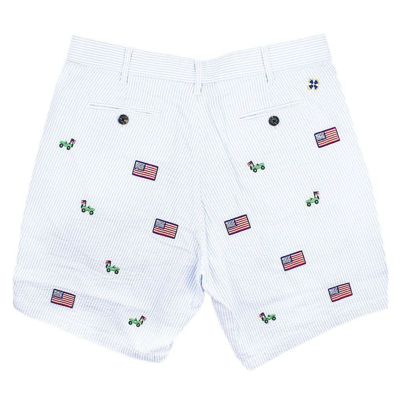 Men's Shorts - Mariner Short In Blue Seersucker With Embroidered Jeep And American Flag By Castaway Clothing