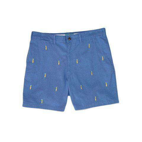 Men's Shorts - Mariner Short In Slate Blue With Embroidered Bottle And Lime By Castaway Clothing