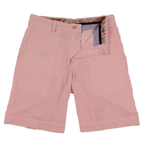 Men's Shorts - Pink Seersucker Shorts By Country Club Prep - FINAL SALE