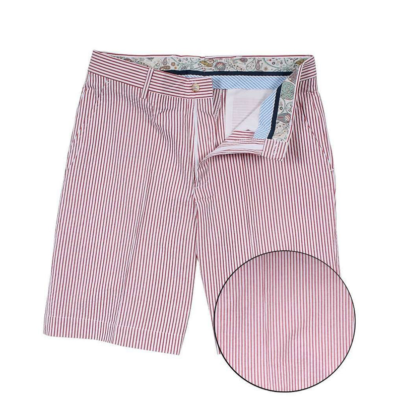 Men's Shorts - Red Seersucker Shorts By Country Club Prep - FINAL SALE