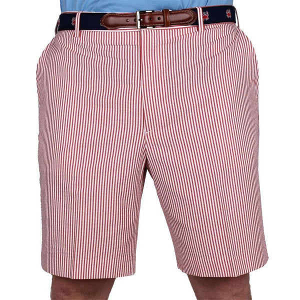 Red Seersucker Shorts by Country Club Prep