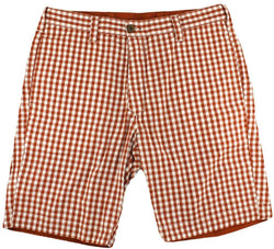 Men's Shorts - Reversible Shorts In Burnt Orange And White Gingham By Olde School Brand - FINAL SALE