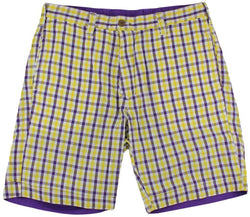 Men's Shorts - Reversible Shorts In Gold And Purple Gingham By Olde School Brand - FINAL SALE