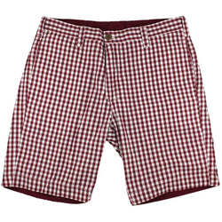 Men's Shorts - Reversible Shorts In Maroon And White Gingham By Olde School Brand - FINAL SALE