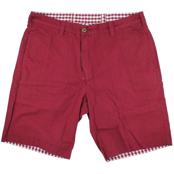 Reversible Shorts in Maroon and White Gingham by Olde School Brand - FINAL SALE