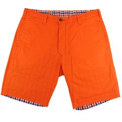 Men's Shorts - Reversible Shorts In Orange And Blue Gingham By Olde School Brand - FINAL SALE