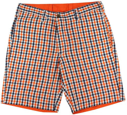 Men's Shorts - Reversible Shorts In Orange And Navy Madras And Solid By Olde School Brand - FINAL SALE