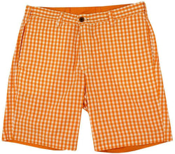 Men's Shorts - Reversible Shorts In Orange And White Madras And Solid By Olde School Brand - FINAL SALE