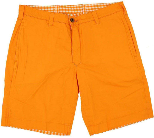 Reversible Shorts in Orange and White Madras and Solid by Olde School Brand - FINAL SALE