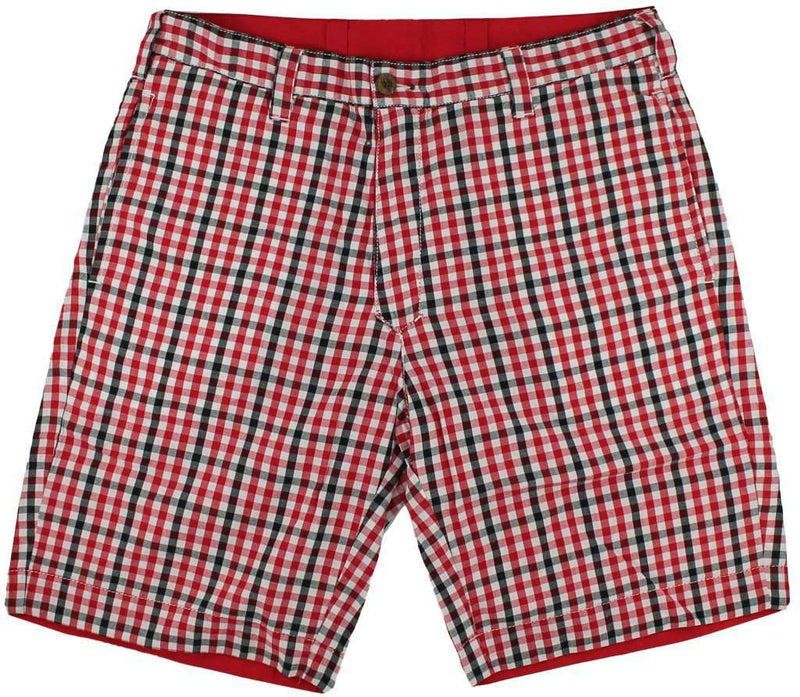 Men's Shorts - Reversible Shorts In Red And Black Gingham By Olde School Brand - FINAL SALE