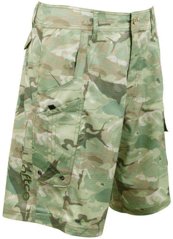 Tactical Fishing Shorts in Green Camo by AFTCO - FINAL SALE