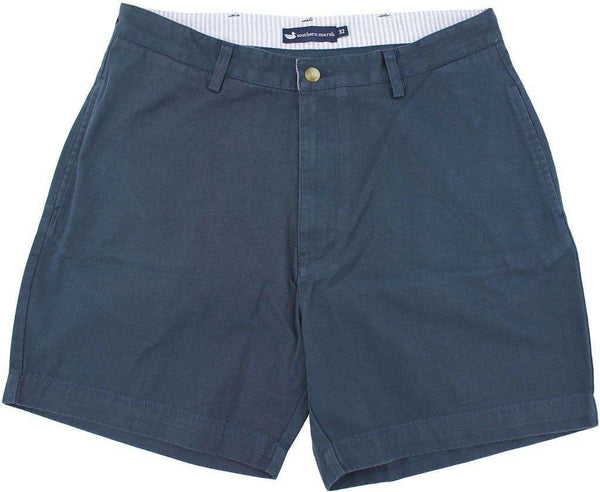 "Men's Shorts - The Regatta 6"" Short Flat Front In Colonial Navy By Southern Marsh"