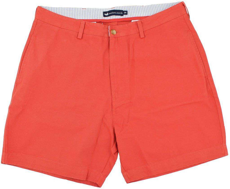"Men's Shorts - The Regatta 6"" Short Flat Front In Vintage Red By Southern Marsh"
