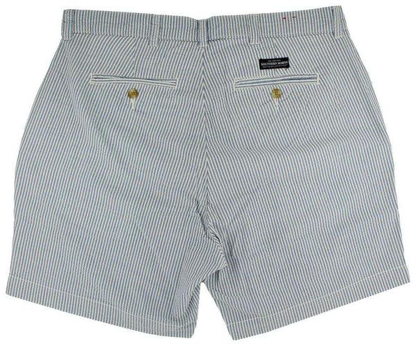 "Men's Shorts - The Regatta 6"" Short In Blue Seersucker By Southern Marsh"