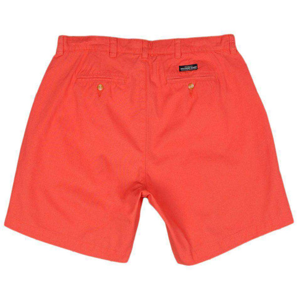 "Men's Shorts - The Regatta 8"" Short Flat Front In Coral By Southern Marsh"