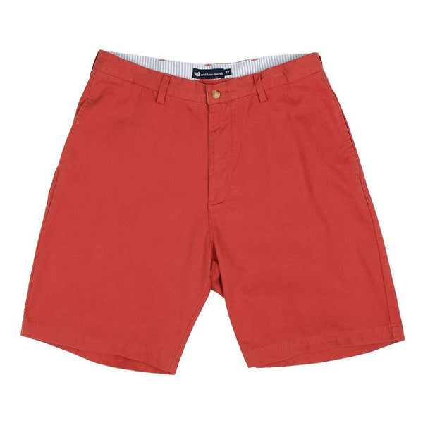 "Men's Shorts - The Regatta 8"" Short Flat Front In Vintage Red By Southern Marsh"