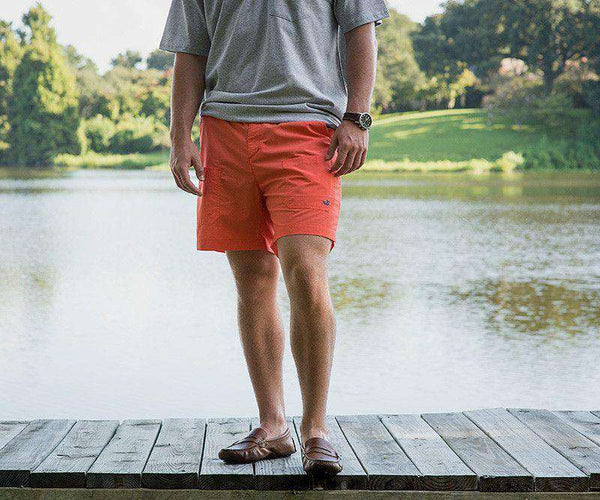 Men's Shorts - The Tarpon Flats Fishing Short In Neon Coral By Southern Marsh - FINAL SALE