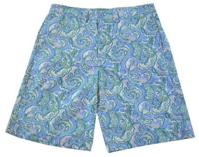 Men's Shorts - Tighman Active Fit Short In Blue With Green Paisley By Liquid Flow