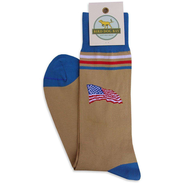 Men's Socks - America! Socks In Khaki By Bird Dog Bay