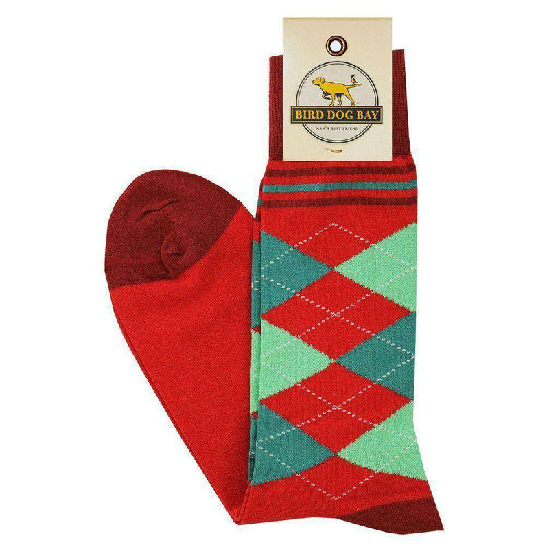 Men's Socks - Argyle Socks In Red By Bird Dog Bay