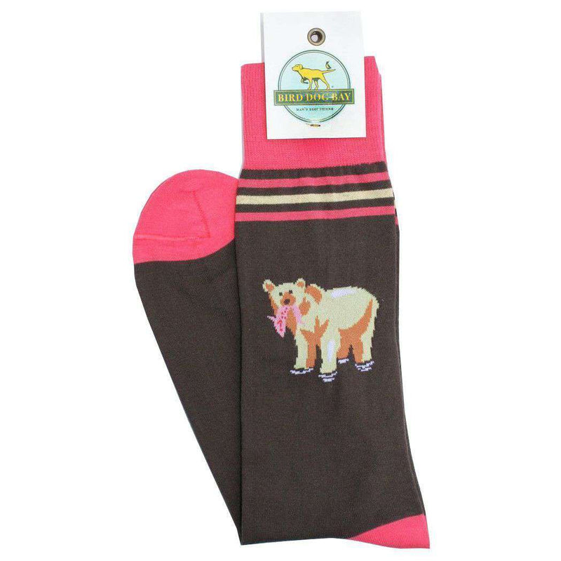 Men's Socks - Bear Down Socks In Brown By Bird Dog Bay - FINAL SALE
