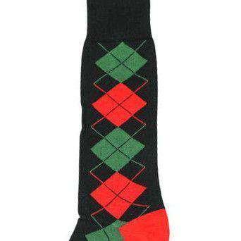 Christmas Argyle Socks in Black by Byford