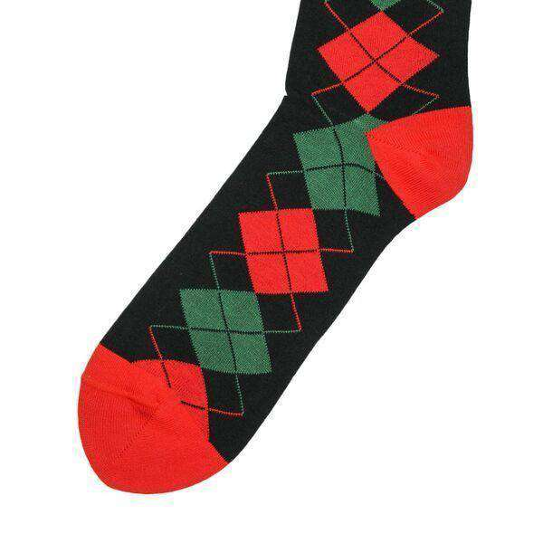 Men's Socks - Christmas Argyle Socks In Black By Byford