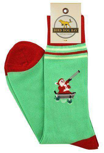 Men's Socks - Crackshot Kringle Socks In Green By Bird Dog Bay - FINAL SALE