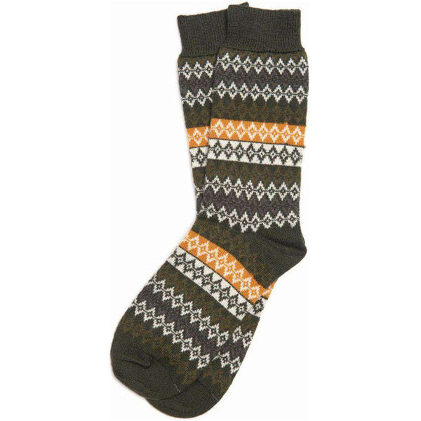 Men's Duxbury Fairisle Socks in Olive by Barbour