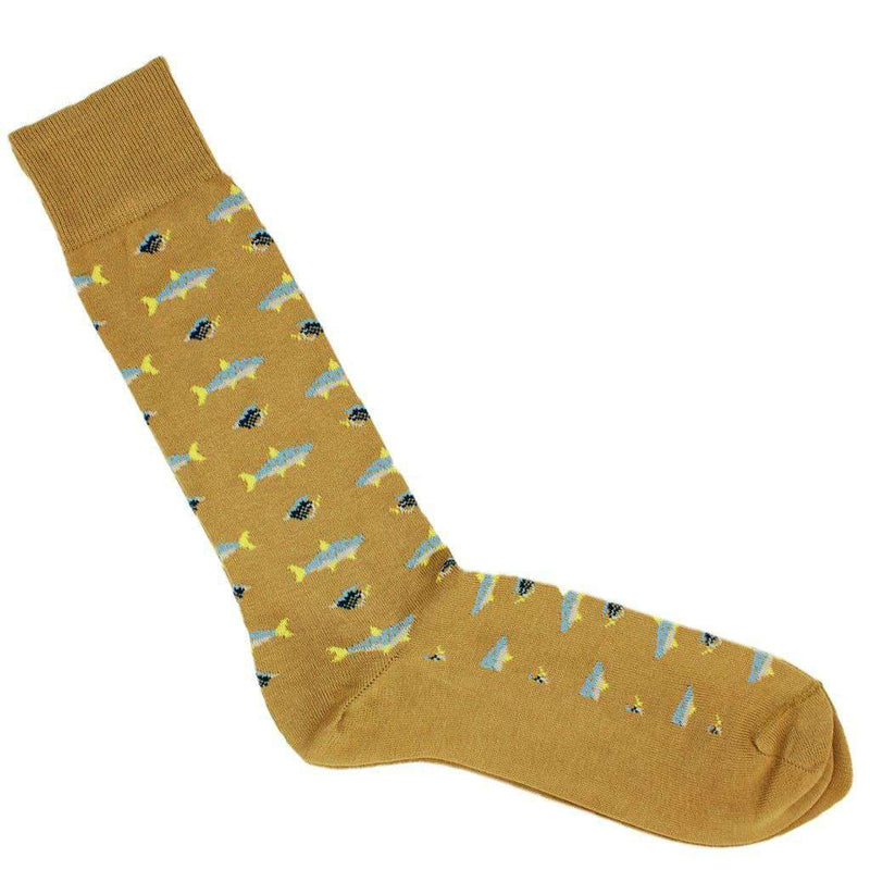 Men's Socks - Fish Motif Socks In Khaki By Byford